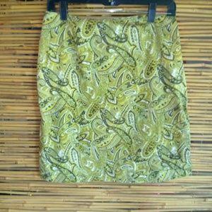 Worthington Lime Olive Paisley Stretch Smirt Sz 10